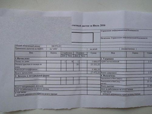 Пример расчетного листка времени простоя в кредитной организации